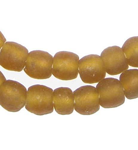 - African Recycled Glass Beads - Full Strand Eco-Friendly Fair Trade Sea Glass Beads from Ghana Handmade Ethnic Round Spherical Tribal Boho Krobo Spacer Beads - The Bead Chest (9mm, Amber)