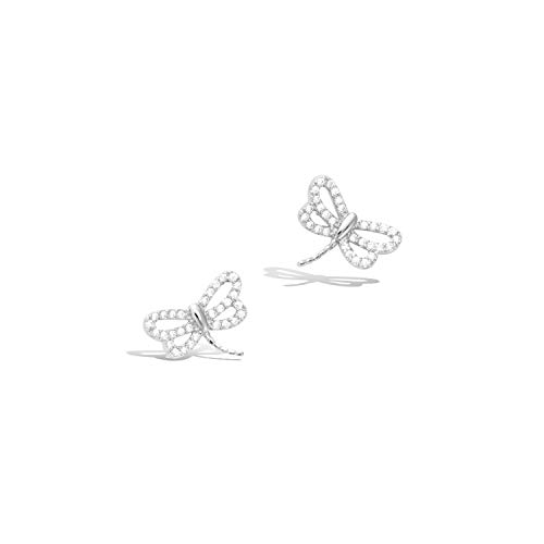 Agvana Sterling Silver Cute Small Dragonfly Stud Earrings Setting Cubic Zirconia CZ Trendy Jewelry Gifts for Women Girls, Size 1/2