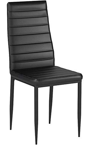 IDS Online 6 PCS Set Modern Style PU Leather Dining Side Chair with Foot Pad Black by IDS Online (Image #8)