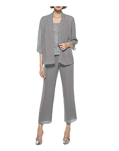 (KapokBanyan Chiffon Lace 3 Pieces Mother of The Bride Pant Suits with Jacket Grey)