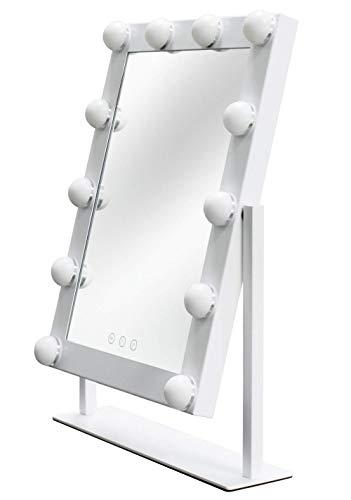 Velouer Hollywood Vanity Mirror with Lights Dimmable 3 Color Light 10 Brightness DC12V and Smart Touch Control Design with Light Table for Wife,Daughter,Girl Firends,Christmas,White