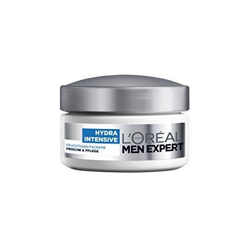 L'Oréal Men Hydra Intensive Feuchtigkeitscreme Gesicht - Feuchtigkeitspflege für Männer, für alle Hauttypen (24h Feuchtigkeit, klebt und fettet nicht), 1er Pack (1 x 50 ml)