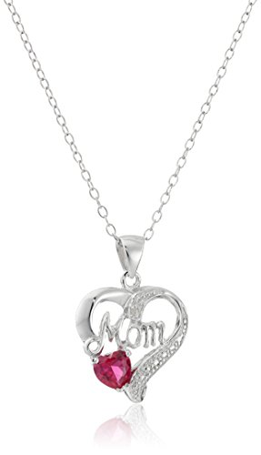 Sterling Gemstone Heart Pendant Necklace Diamond