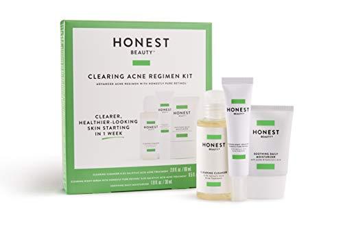 Honest Beauty Clearing Acne Regimen Kit | 3-Step Skin Regimen to Cleanse, Treat, Soothe | Synthetic Fragrance Free, Cruelty Free | (Best Skin Regimen For Acne)