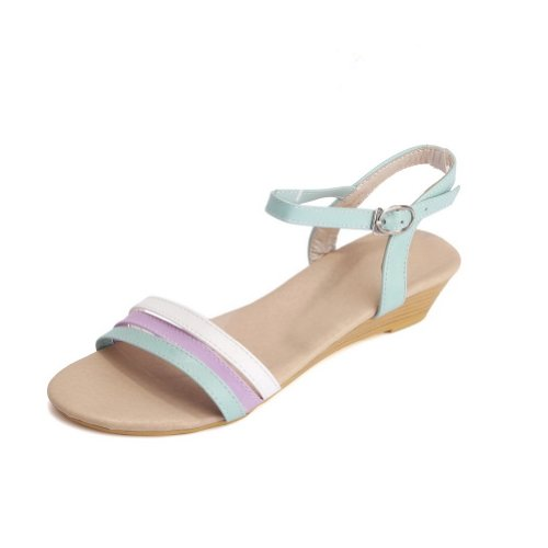 VogueZone009 Womens Open Toe Low Heel PU Soft Material Assorted Colors Sandals with Buckle LightBlue fewqcDO8NO