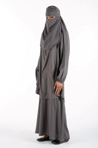 Muslim Islamic Women Plain Burka/Burqa with Face Cover Veil/Niqab , Grey, X-Large