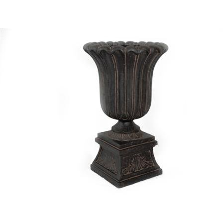 - Water-tight MPG Planters Fluted Cast Stone Black Entrance Urn on Pedestal, Aged Charcoal