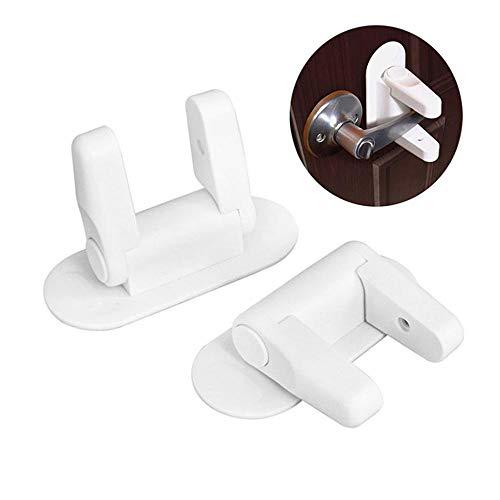 Foonee 2Pcs Child & Baby Safety Lock Child Proof Doors & Handles,Door Lever Lock for Child Proof Doors Handles with 3M Adhesive