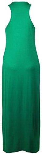 Vestido largo sin mangas con cuello redondo y espalda de nadador para mujer, de tamaño para verano. Jade Green