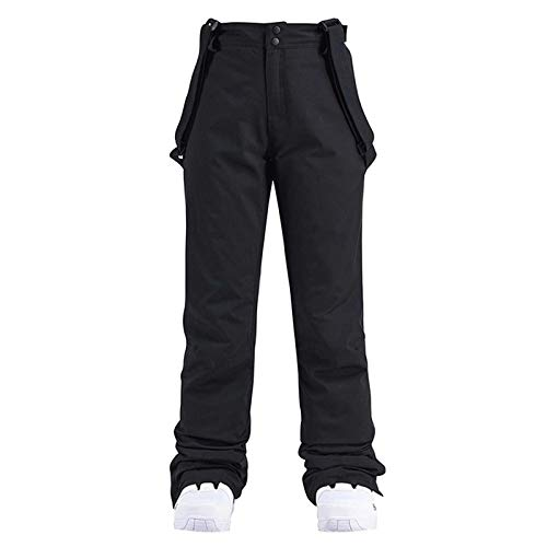 Women Insulated Bib,Overalls,One Piece Suspender Pants Ski Pants Solid Color Pocket One Piece Suspenders(Black-1,XL)