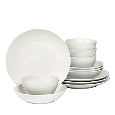 Denmark 12 Piece White Dinnerware Set - WORRY FREE CRAFTSMANSHIP. The sound of plates breaking can be cause for celebration...unless it's your plate that just hit the floor and broke into a million pieces. Fear not, this set is made with highly durable Vitrified Porcelain that is fired at a much higher temperature making it chip resistant. While dropping them onto a tile floor isn't recommended, this set can take the repeated dropping of heavy knifes or forks! EASY MAINTENANCE. Hate hand washing dishes? So do we! This set is dishwasher safe. For even more convenience, feel free to use them in the microwave and oven up to 400°F. DESIGNED TO LAST. These Dinnerware Collections brings a casual elegance to any table using minimalist style, clean lines, and smooth, pure white surfaces in a classic round shape. - kitchen-tabletop, kitchen-dining-room, dinnerware-sets - 310bdrkzrjL. SS400  -