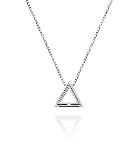 (Amkaka Minimalist 925 Sterling Silver Dainty Geometric Triangle Necklace for)