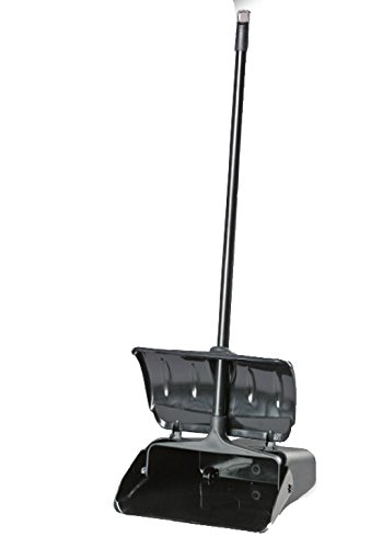 Janico 1088 Bristles Hooded Dustpan, Hood Closes Automatically, Swing Hopper, Aluminum Handle, Black ()