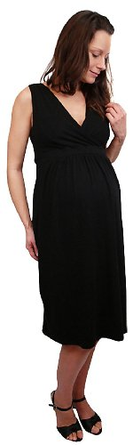 Cotton Glam Maternity Womens' Cross Over Sleeveless Dress with Tie Back - Black - Large