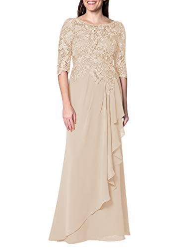 - EDressy Chiffon Mother of The Bride Dresses Long Evening Formal Gowns Flora Lace Prom Party Dress Half Sleeves Champagne US12