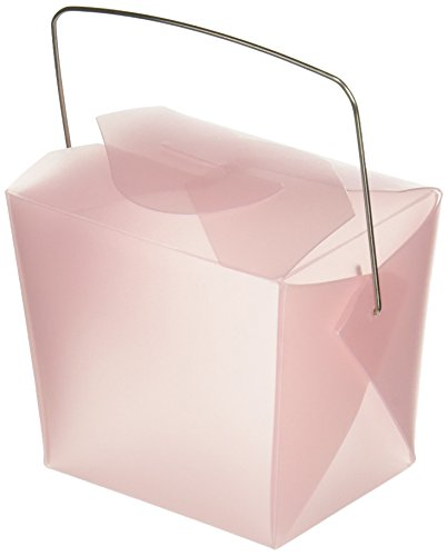 Oasis Supply Frosted Chinese Take-out Boxes Containers for Party Favor Boxes, 1/2-Pint, Pink, 12-Pack Frosted Take Out Boxes