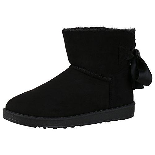 napoli-fashion Bequeme Warm Gefütterte Damen Schuhe Stiefel Schlupfstiefel Jennika Schwarz Schleife Nero