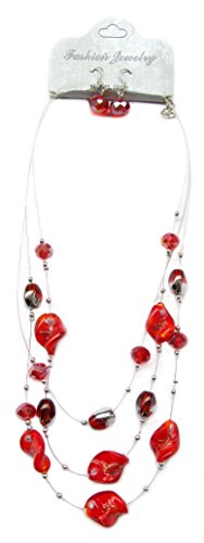 Linpeng Fiona Pink Rose Red Lampwork and Crystal Beads Layered Necklace and Earrings Set_Lp04212012-04B