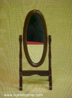 Dollhouse Miniature Bedroom Furniture Walnut Wood Cheval Dressing Mirror
