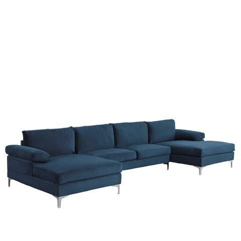 Modern Large Velvet Fabric U-Shape Sectional Sofa, Double ...