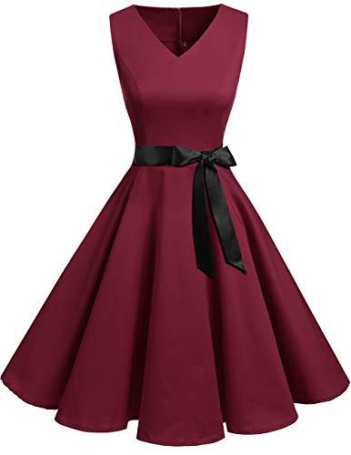Bridesmay Women's V-Neck Audrey Hepburn 50s Vintage Elegant Floral Rockabilly Swing Cocktail Party Dress Dark Red M