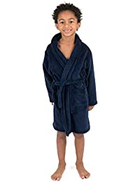 Leveret Kids Robe Boys Girls Bathrobe Shawl Collar Fleece Sleep Robe Navy Size 8 Years