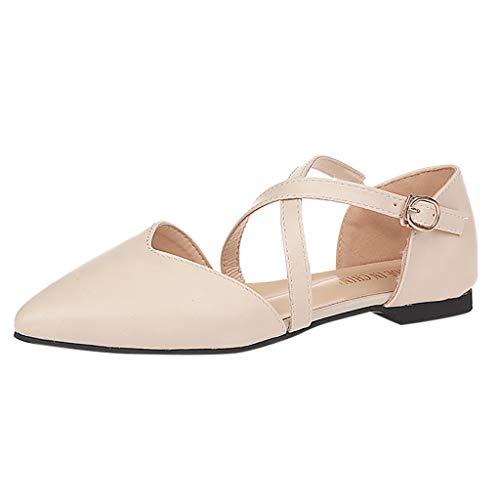 Esharing Women's Pointy Toe Flats ❄ Foot Back Buckle Strap Comfort Ballerina Ballet Flat Shoes ()
