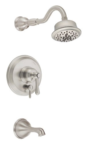 (Danze D502257BNT Opulence Single Handle Tub and Shower Trim Kit with 5-Function Showerhead, Brushed)