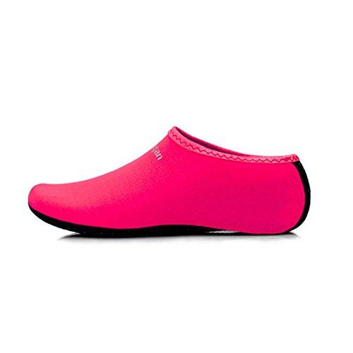 Red Chaussures sur Yoga Rose Chaussettes Chaussures Femmes Peau Symboat Surf d'eau Exercice Piscine Slip Aqua Plage Nager Hommes cURxZSpqT