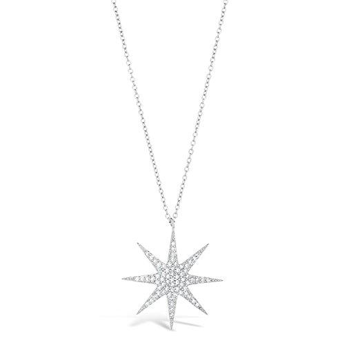 Sterling Silver Starburst Pendant Necklace Cubic Zirconium 18