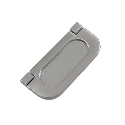 - Silver Tone Metal Oval Shape Ring Pull Cupboard Door Handle 3