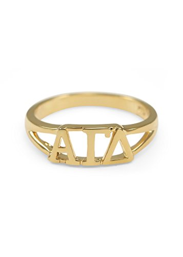 Alpha Gamma Delta 14k Gold Plated Sorority Ring with Greek letters (Delta Gamma Ring)