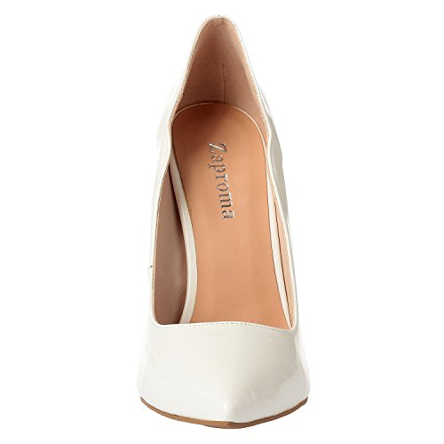 ZAPROMA Women's Luxury Comfortable Shoes Pumps Leather White Patent Zabsolute High Heels Stilettos Toe Sexy Point FFrqgd