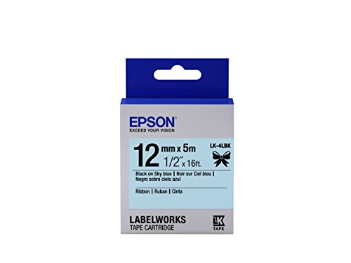 "Epson LabelWorks Ribbon LK (Replaces LC) Tape Cartridge ~1/2"" Black on Skyblue (LK-4LBK) - For use with LabelWorks LW-300, LW-400, LW-600P and LW-700 label printers"