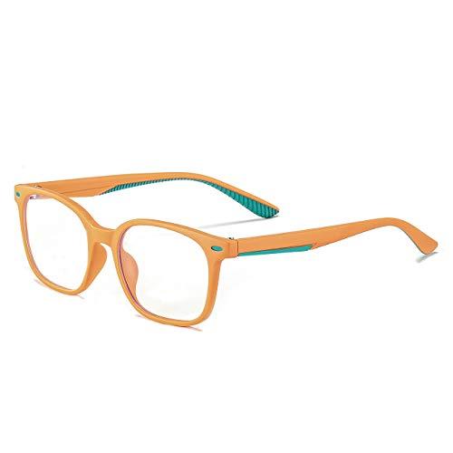 MAXJULI Kids Blue Light Blocking Glasses - Anti Eyestrain - Video Computer Gaming Eyeglasses for Boys & Girls - TR90 Square Flexible with Rivets Frame Eye Glasses 6604