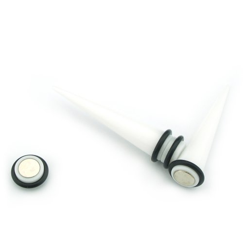 White Magnetic Design - Acrylic Fake Tapers - Cheaters - 0G Gauge - 8mm