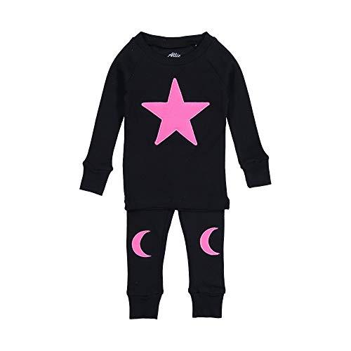 (Allie & Oliver 100% Cotton Snug Fit Toddler Pajama Set, Star and Moon, Pink, 10)