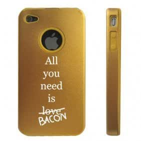 Apple iPhone 4 4S 4 Gold D4824 Aluminum & Silicone Case Cover All you need is Bacon