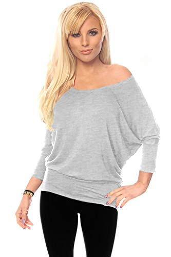 Simlu Dolman 3/4 Sleeve Drape Round Neck Top With Banded Waist - Made In USA, Heather Grey, XX-Large ()