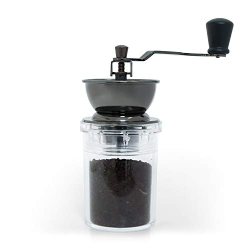 Verre Collection Ceramic Conical Burr Coffee Mill Manual Grinder, Brushed Black Copper (Gravity Coffee Grinder)
