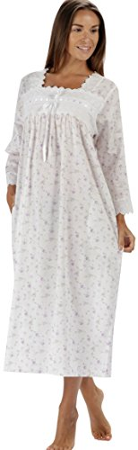 (The 1 for U 100% Cotton Nightgown 3/4 Sleeves Laura (Lilac Rose, Small))