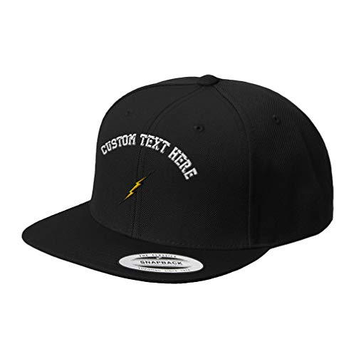 Custom Snapback Baseball Cap Lightning Bolt Embroidery Design Acrylic Cap Snaps Black Personalized Text Here