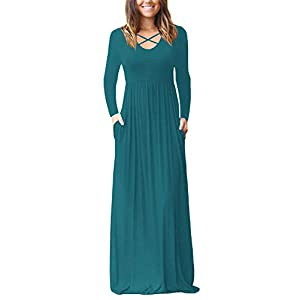 006dba62054 INFITTY Women s Loose Plain Long Sleeve Sleeveless Racerback Maxi Dresses  Casual Long Dresses with Pockets