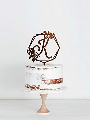 Letter K Wedding Cake Topper With Wreath Wooden K Initial Cake Topper For Wedding Single Initial Personalized Cake Topper Custom Topper ()