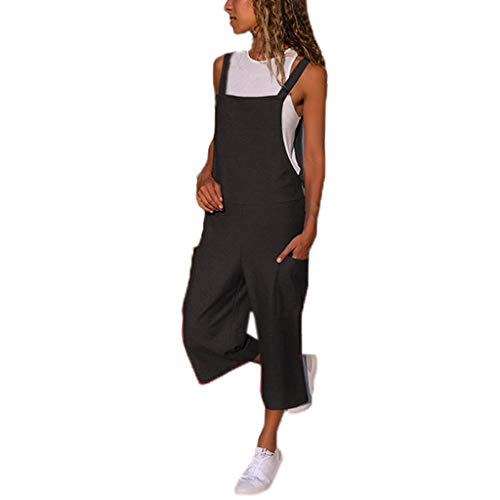 TOPUNDER Women Sleeveless Dungarees Loose Cotton Linen Long Playsuit Party Jumpsuit Black ()