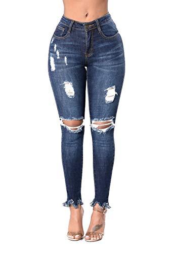 DAMENGXIANG Agujeros De Mujer Jeans Ajustados Alta Elasticidad Nuevas Modas. El Color de La Imagen