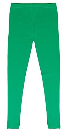 CAOMP Girls'%100 Organic Cotton Leggings for School Play (11-12, Green) -