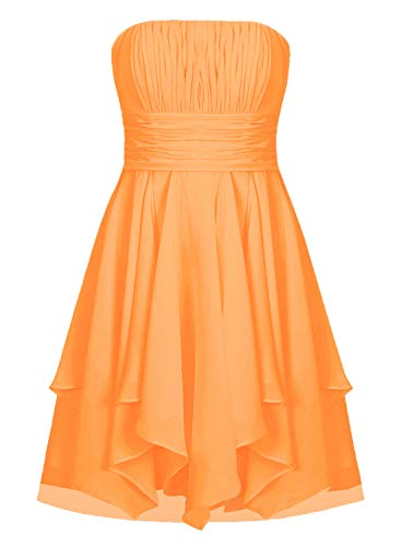 (EDressy Chiffon Bridesmaid Dresses Short Prom Party Dress Strapless Homecoming Formal Gowns Orange US 4)