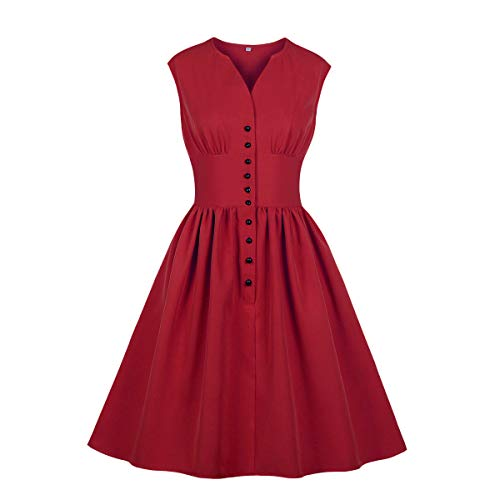Wellwits Women's Solid Button Down Pin up 1940s 1950s Vintge Dress Red 4XL