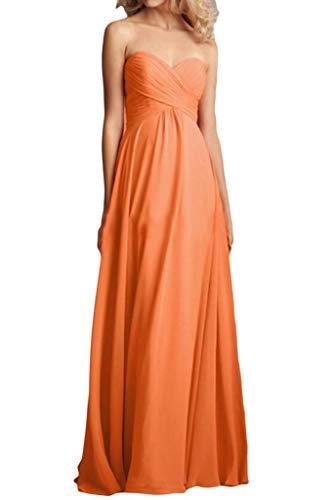 Herzausschnitt Chiffon Brautjungfernkleider Abendkleider Linie Braut Partykleider La A Bodenlang Elegant Orange mia U7xtawqI